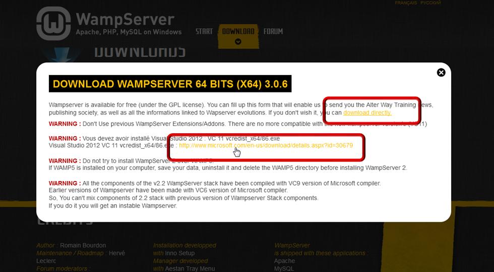 Pobieranie elementów WampServer