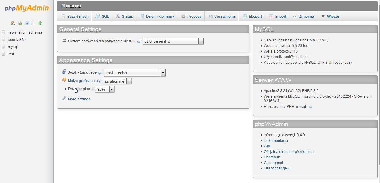 Tworzenie bazy danych na lokalnym serwerze w phpMyAdmin