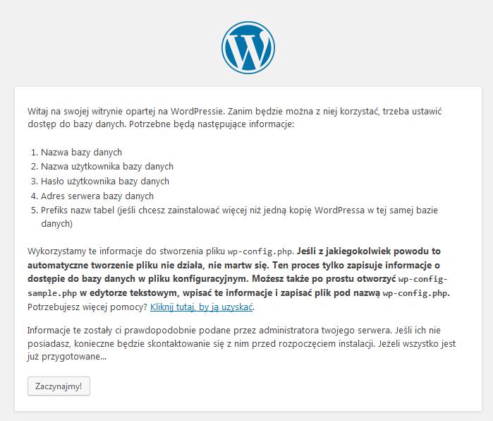 Proces instalacji WordPress