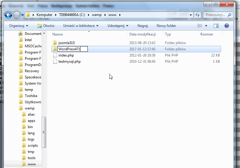 tworzenie katalogu strony na lokalnym serwerze