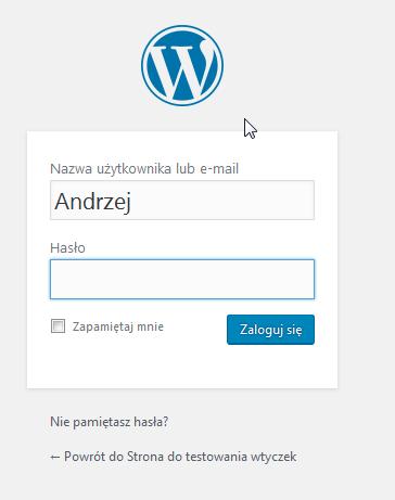 okno logowania wordpress