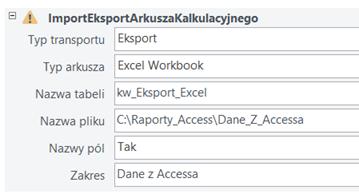 MS Access - Okno z danymi dotyczącymi ImportEksportArkuszaKalkulacyjnego