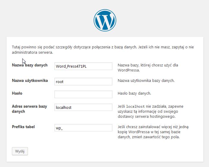 konfiguracja instalacji wordpress