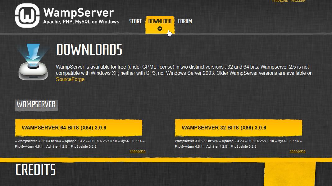 Pobieranie WampServer