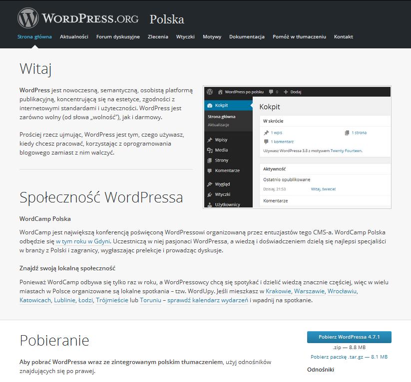 Pobieranie paczki instalacyjnej WordPress